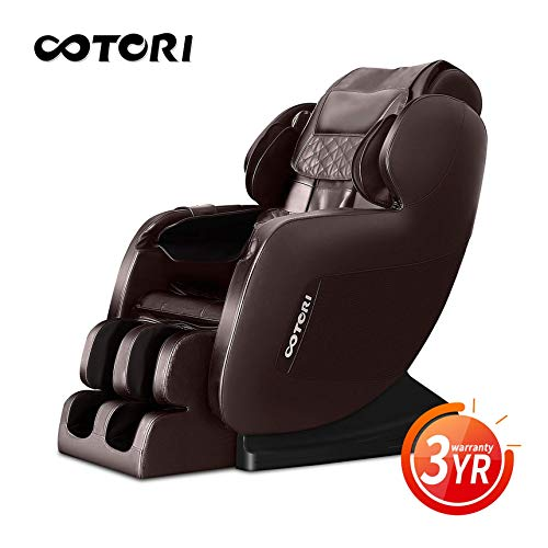 OOTORI Brown Full Body L-Track Massage Chair Zero Gravity Recliner,Lower-Back Heating,Neck to foot Airbags with Bluetooth Speaker