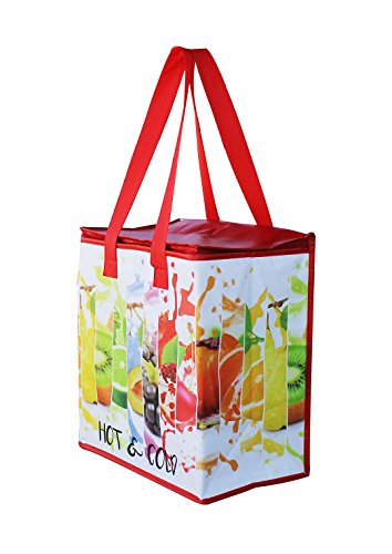 Earthwise Insulated Reusable Grocery Bag Shopping Tote with Zipper Top Lid Fruit Splash Print Thermal for Frozen or Hot Food Carrier Collapsible (Pack of 2) by Earthwise (Image #2)
