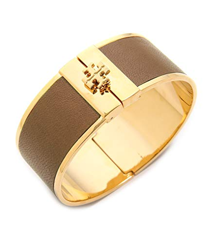 - Tory Burch Womens Skinny Leather Inlay Brass Metal Cuff Bracelet (Light Brown)
