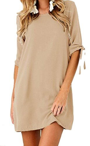 Neck Sleeve Straps Solid Scoop Half Dress Coolred Women Khaki Evening Party OXqw441