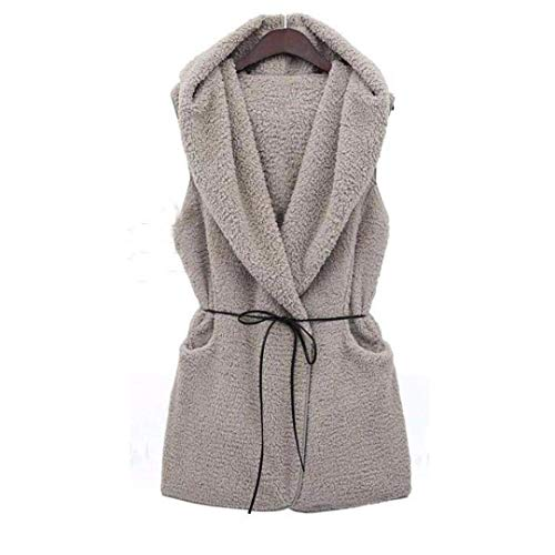 Casual Autunno Giacca Fit Fashion Outerwear Vintage Smanicato V Donna Grau Slim Felpata Eleganti Gilet neck Primaverile Cappotto 6x7q8AwxF
