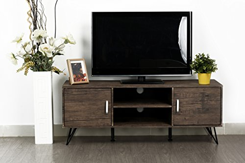 Vintage Dark Brown Finish TV Entertainment Center Console Cabinet Stand with Two Doors and Shelves