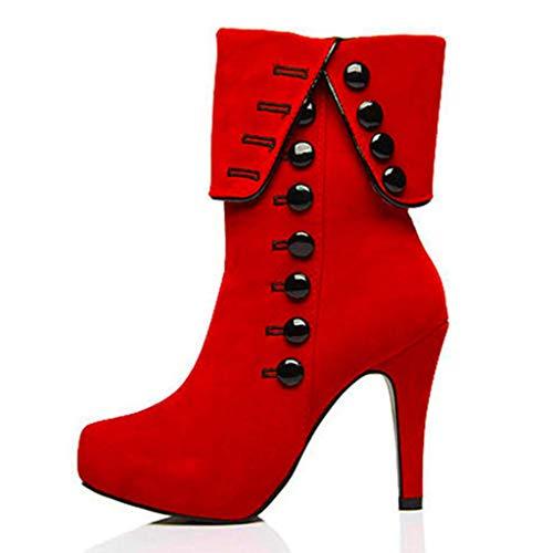 Botines Súper Martin FF Alto LFF Redonda Tacón O Rojo Botón Cabeza Grande 8Cm Más Gamuza Alto Tamaño Red para Mujer 37 Tacón Botas P8nndC