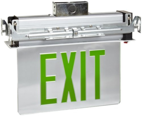 Morris Products 73336 Recessed Mount Edge Lit LED Exit Sign, Green on Clear Panel Color, White Housing - Edge Lit Led Exit Sign