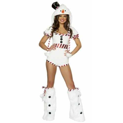 [Sexy J. Valentine Frosty Snow Girl Pin Up Holiday Romper Small] (Holiday Pin Up Costumes)