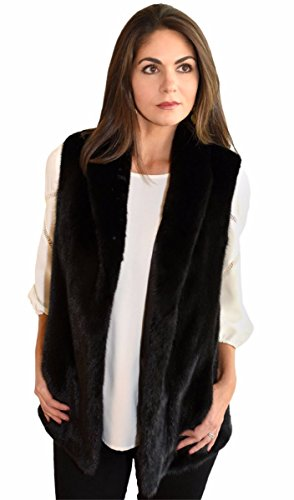 Female Mink Fur Vest with Shawl Collar(Mahogany,XS)