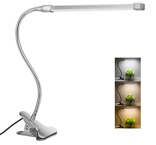 Flexible LED Gooseneck Desk Lamp Dimmable Clip Light 8W Clip On Lamp Reading Light in Bed 3 Lighting Modes 10-level dimmer USB Clamp Light(Silver)