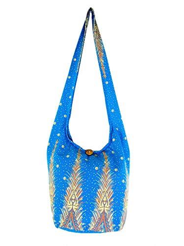 (Lined Peacock Feather Print Handbag Crossbody Bag Hippie Hobo Shoulder Thai Boho Sling Purse for Women Medium (Lined Turquoise)