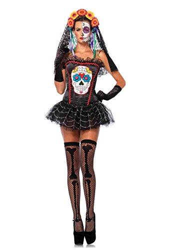 Sugar Skull Bustier Costume Bundle with Pink (Sugar Skull Outfit Halloween)