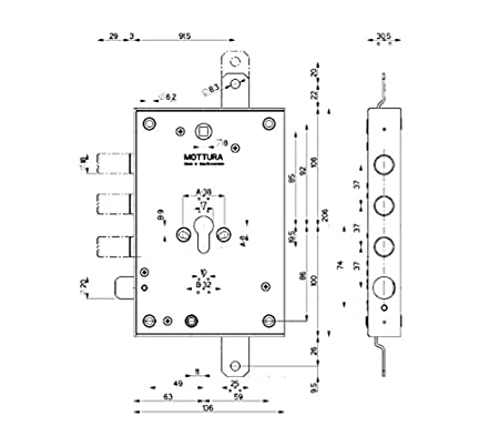 Cerradura de seguridad para puerta blindada Mottura Art. 85.371 derecha 3 pistones Piu Tobogán predisposta para cilindro europeo 2 mandate ad sobreponer ...