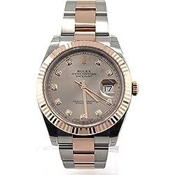 ROLEX Datejust 36 Rhodium Diamond Dial Steel And 18k Everose Gold Men's Watch 126331