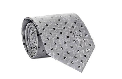 Versace Men's Geometrical Square Patterned Silk Necktie - Loop Versace