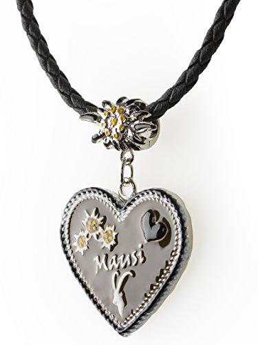 Trachtenkette Mausi bemaltes Herz mit Edelwess Kette rot oder blau - Trachtenschmuck Dirndl Lederhose (Schwarz)