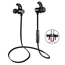 Wireless Headphones Noise Cancelling, Premium Bluetooth Headset Magnetic Earbuds with Powerful Bass, Comfortable Sport Earphones Light Weight for Workout / Running / Gym / Travel – BAPHILE B2 Black