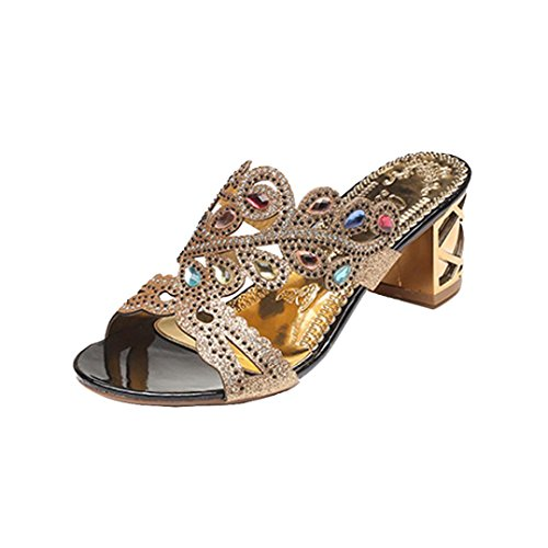 Lolittas Diamante Sandals for Women,Gold Wedding Bridal Jewelled Glitter Sparkly Bling Chunky Block High Mid Heel Peep Toe Wedge Platform Shoes Size 2-6 Gold