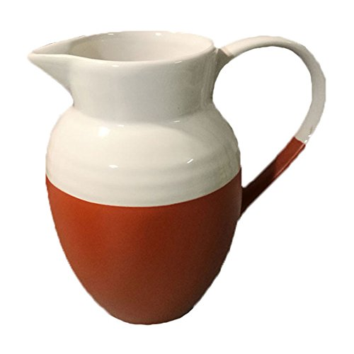 Vintage Japanese Ins Style Orange Assorted White Cute Spout Crude Pottery Ceramic Coffee Milk Creamer Pot Cooker Serving Sauce Porcelain Pitcher Cup Jug Vase with Handle for Kitchen Home Decor Gift ()