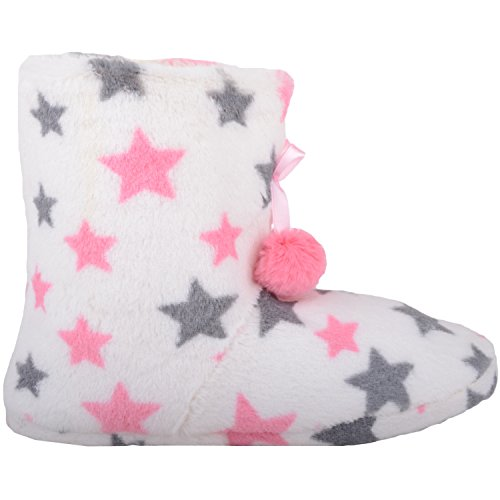 Absolute Footwear Womens Soft Faux Fur Bootie Slippers/Shoes with Star and Pom Pom Design White HaUIBU