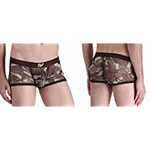 Mesh Camouflage Men See-Through Underwear Underpant Trunks Boxer Briefs Calecons