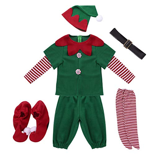 Alvivi Kids Childrens Boys Santas Elf Costumes Christmas Festive Suit Party Holiday Outfit with Hats Boots Set Green 10-12