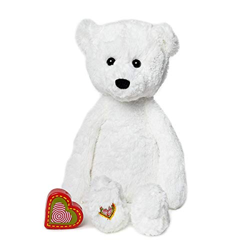 My Baby's Heartbeat Bear - Vintage White Bear Stuffed Animal with 20 Second Voice/Sound Recorder Keeps Your Baby's Ultrasound Heartbeat Safe! - Vintage White ()