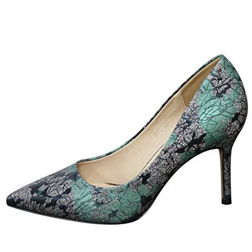 YMFIE Primavera y otoño señaló Sexy Doodle Tacones Altos Lentejuelas Moda Boca Baja Solo Zapatos Zapatos de tacón de Aguja, 34 UE 39 EU