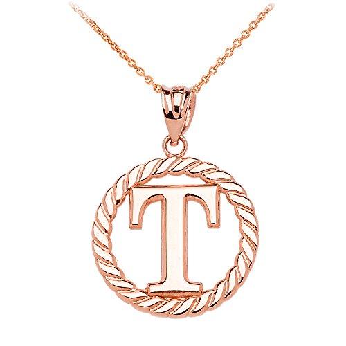 """Collier Femme Pendentif 10 Ct Or Rose """"T"""" Initiale À Corde Cercle (Livré avec une 45cm Chaîne)"""