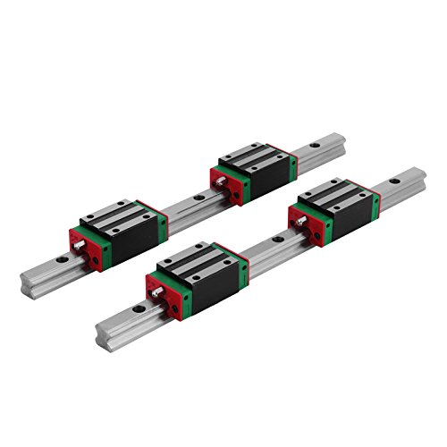 Happybuy Linear Rail 15-300mm 2X Linear Guideway Rail 4X Square Type Carriage Bearing Block Linear Rail Support for 15mm Slotted Bearings ()
