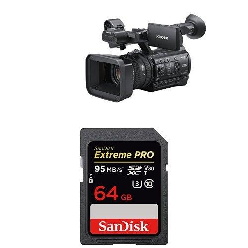 Sony PXWZ150 4K XDCAM Camcorder with SanDisk Extreme Pro 64GB SDXC UHS-I Memory Card by Sony
