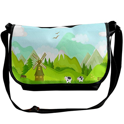 Taslilye Riverside Windmill Meadow Cow Customized Wide Crossbody Shoulder Bag For Men And Women For Daily Work Or Travel -
