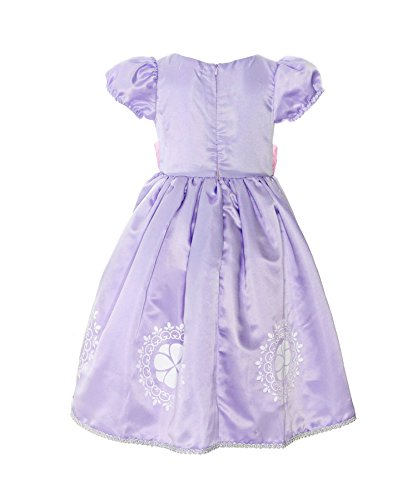 Loel Little Girls Princess Sofia Costume Short Sleeve Dress up