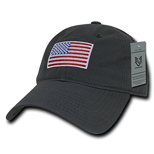 (Rapid Dominance American Flag Embroidered Washed Cotton Baseball Cap - Original Charcoal)