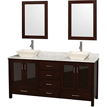 Superb Wyndham Collection Lucy 72 Inch Double Bathroom Vanity In Espresso, White  Carrara Marble Countertop,
