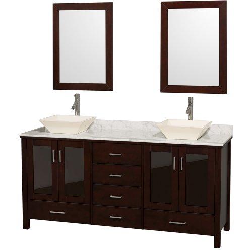 Marble Top Double Bathroom Vanity (Wyndham Collection Lucy Double Bathroom Vanity with 'White Carrera Marble Top/Bone Porcelain Sinks', 72-Inch,)