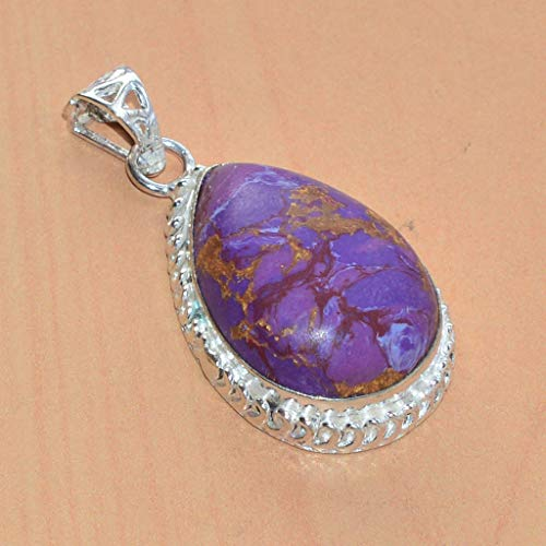 VICTORIANJEWELS 925 Silver Plated Copper Turquoise Pendant