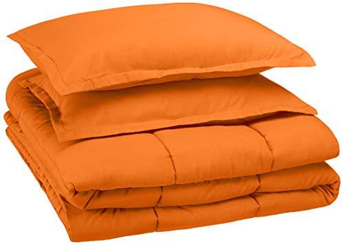 AmazonBasics Easy-Wash Microfiber Kid's Comforter and Pillow Sham Set - Full or Queen, Bright Orange