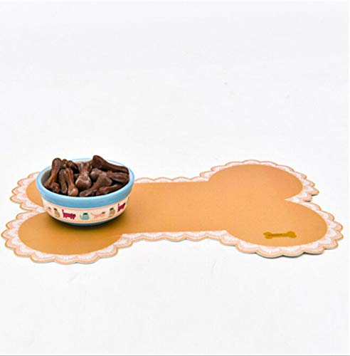Tcplyn Premium Quality Paw PVC Pet Dog Cat Feeding Mat Dish Bowl Food Water Placemat Mat Pad Rectangle, 40x30cm (Beige) by Tcplyn (Image #1)