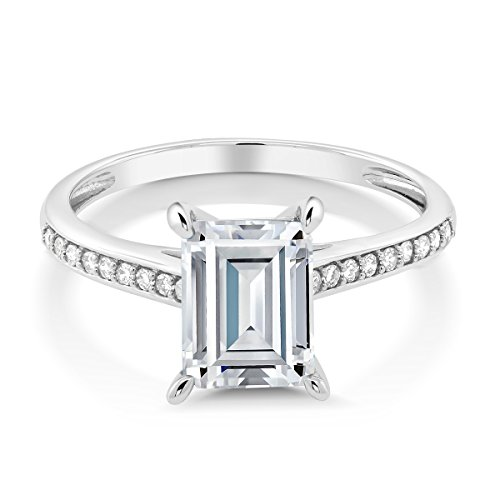 10K White Gold Solitaire w/Accent Stones Ring Timeless Brilliant Radiant (IJK) 1.60ct (DEW) Created Moissanite and Diamond