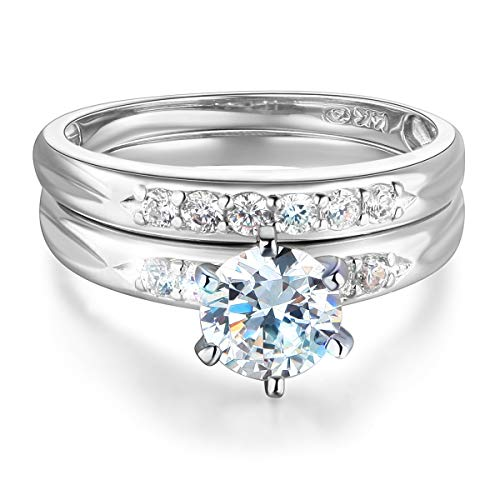 Wellingsale Ladies 925 Sterling Silver Polished Rhodium Engagement Ring and Wedding Band 2 Piece Set, Size 5