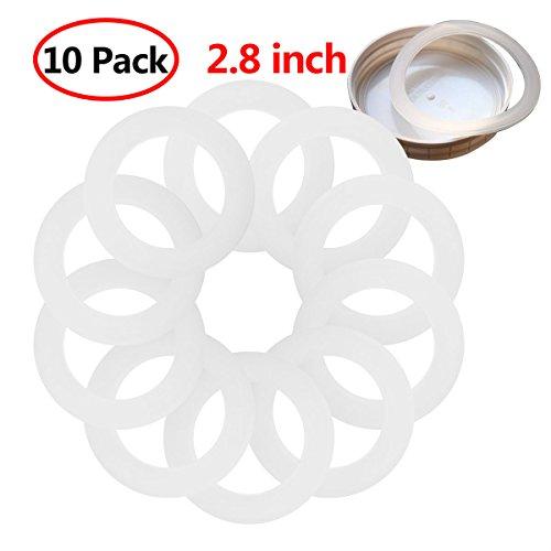 (YiZYiF 10 Pack Silicone Seals Sealing Rings Airtight Gaskets for Leak Proof Mason Jar Ball Jar Kerr Jar Lids Canning Jars Cap White 2.8 inch)