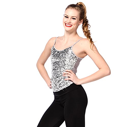 [Alexandra Collection Womens Dance Costume Sparkly Sequin Tank Top Silver Small] (Silver Dance Costume)