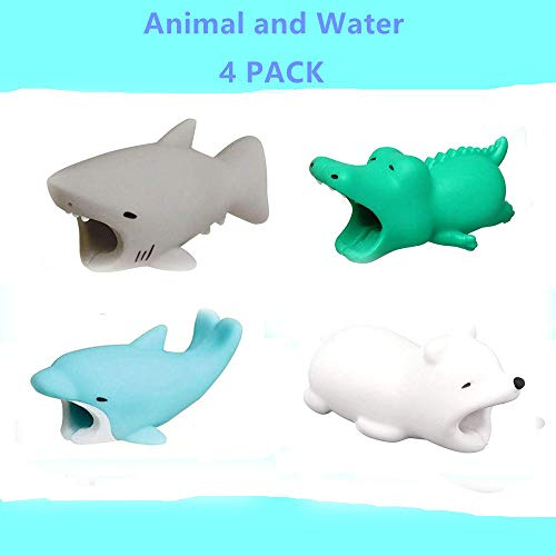 (YMH Cable Protector iPhone iPad Cable Android Cord Plastic Cute Sea Animals Phone Accessory Protects USB Charger Data Protection Cover Chewers Earphone Cable Bite 4Pack (GCDP))