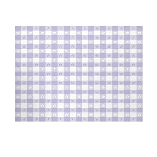 Lavender Photography Background,Pastel Colored Classic Gingham Check Pattern with Delicate Small Blossoms Decorative Backdrop for Studio,10x6ft