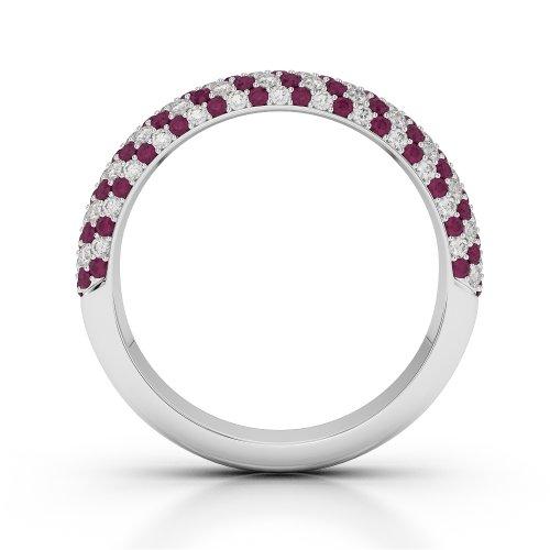 G-H/VS 0,75ct Coupe ronde Certifié Rubis et diamants en platine 950Agdr-1118