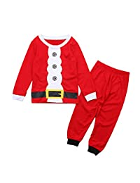 Meijunter Santa Christmas Pajamas Set Boy Girl Kids Pjs Xmas Children Nightwear