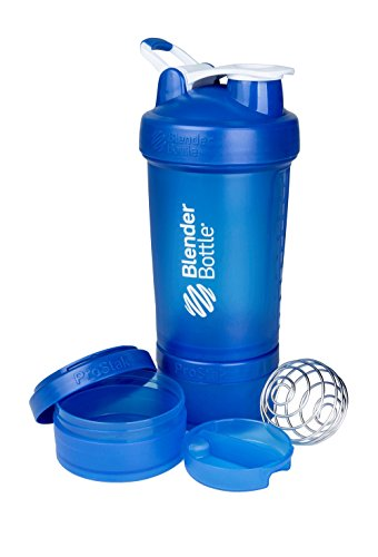 BlenderBottle ProStak System with 22-Ounce Bottle and Twist n' Lock Storage, Blue/Blue
