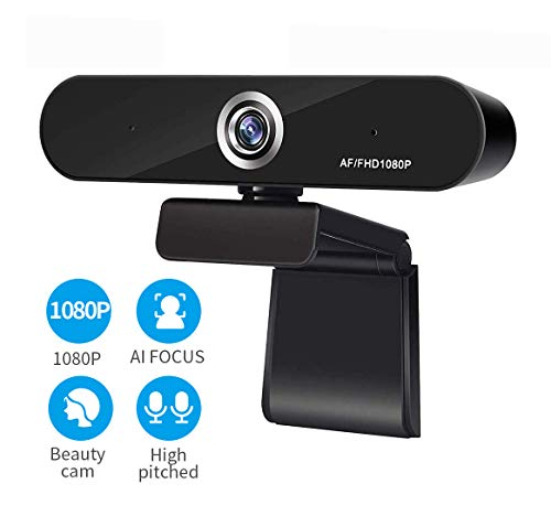 SDETER Full 1080P Webcam, Auto Focus Computer Camera, Face Cam with Dual Microphone for PC, Laptops and Desktop,90 Degree Extended View
