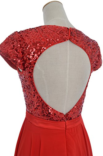 Sequin Women Chiffon Dress Formal Cap Birdesmaid Short MACloth Sleeve Himmelblau Party Gown 7HCdq