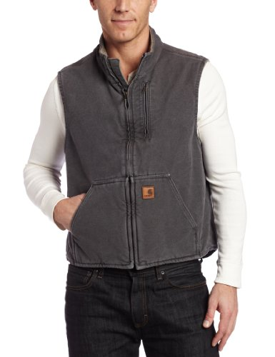 - Carhartt Men's Mock Neck Vest Sherpa Lining ,Gravel,Large