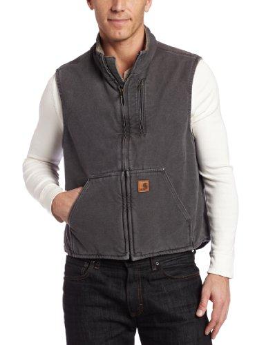 Carhartt Men's Mock Neck Vest Sherpa Lining ,Gravel,Medium