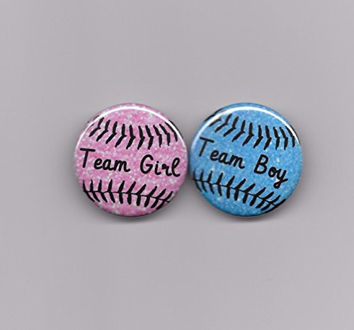 - 20 Count 1-1/2 inch Baseball Theme Team Boy Girl Gender Reveal Baby Shower Party Favors Pin Back Buttons Round Pinback